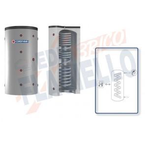 Cordivari Termoaccumulatore Eco Combi 1 PDC VB da 300 a 800 per Pompe di Calore con accumulo di Acqua Tecnica in Acciaio al Carbonio e Circuito Sanitario in Serpentino Corrugato in Acciaio Inox 316L a Coibentazione Rigida