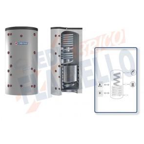 Cordivari Termoaccumulatore Eco-Combi 2 VB da 500 a 2000 per accumulo di Acqua di Riscaldamento e produzione di Acqua Calda Sanitaria in Serpentino Currogato in Acciaio Inox 316L con 1 Scambiatore Fisso a Coibentazione Rigida