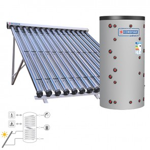 Pannello Solare Cordivari ECO COMBI 3 CVT 800 5X15 SOTTOVUOTO Circolazione Forzata Sanitaria e Riscaldamento