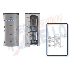 Cordivari Termoaccumulatore Eco Combi 3 PDC VB da 300 a 800 per Pompe di Calore con accumulo di Acqua Tecnica in Acciaio al Carbonio con 2 Scambiatori Fissi e Circuito Sanitario in Serpentino Corrugato a Coibentazione Rigida Smontabile