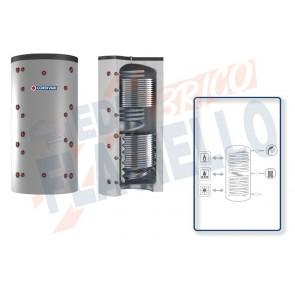 Cordivari Termoaccumulatore Eco-Combi 3 VB da 500 a 2000 per accumulo di Acqua di Riscaldamento e produzione di Acqua Calda Sanitaria in Serpentino Currogato in Acciaio Inox 316L con 2 Scambiatori Fissi a Coibentazione Rigida