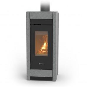 Stufa a Legna Canalizzata Thermorossi Essenza Wood HP Stone 9,8kW Kit Grigio