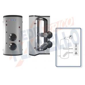 Cordivari Bollitore Extra 2 XXB da 200 a 500 in Acciaio Inox 316L con 2 Scambiatori Estraibili in Acciaio Inox 316L per produzione di Acqua Calda Sanitaria a Coibentazione Rigida