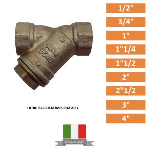 """Filtro Raccolta Impurità ad Y in Ottone da 1/2""""-3/4""""-1""""-1""""1/4-1""""1/2-2""""-3""""-4"""""""