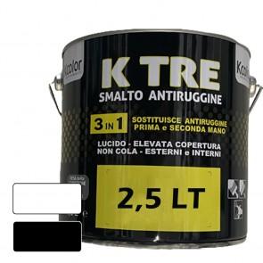 Pittura per Ferro Smalto Antiruggine 3in1 Bianco Lucido o Opaco KCOLOR K TRE 2,5lt per Esterni ed Interni