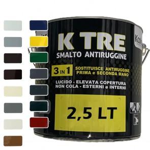 Pittura per Ferro Smalto Antiruggine Lucido 3in1 KCOLOR K TRE 2,5lt per Esterni ed Interni Vari Colori