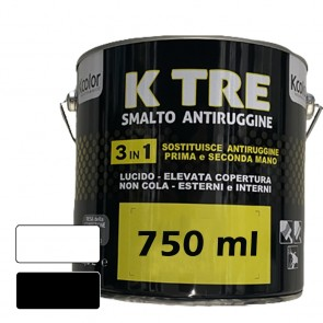 Pittura per Ferro Smalto Antiruggine 3in1 Bianco Lucido o Opaco KCOLOR K TRE 750ML per Esterni ed Interni