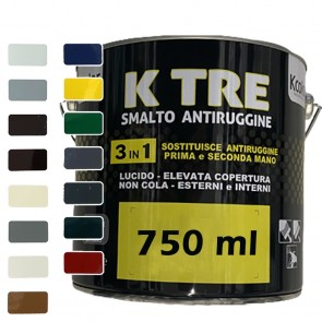 Pittura per Ferro Smalto Antiruggine Lucido 3in1 KCOLOR K TRE 750ML per Esterni ed Interni Vari Colori