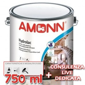 Pittura per Legno all'Acqua Vernice Amonn HYDROLAC 750ml Opaco o Lucido