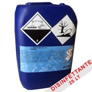 Cloro Liquido Da 25 Litri Clean Pure Bio Sodio Ipocloritico 14-15% Prodotto Biocida Disinfettante