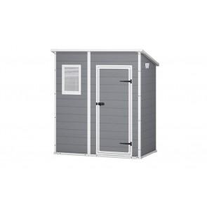 Keter Manor Pent 6x4 Casetta Addossabile In Resina 1 Porta, Pavimento Incluso, 1 Finestra - Dim.Esterne Cm. 183,5x111x200,5h - Grigio