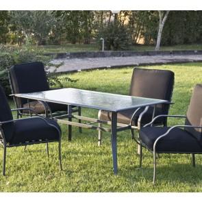 Tavolo da Giardino con vetro LUCREZIA 150x90x72h in alluminio