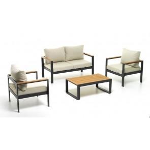 Salotto Alluminio Polywood Cuscini Poliestere Beverly Antracite M0949-38