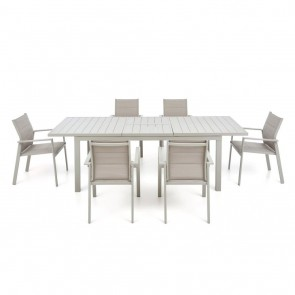 Tavolo da Giardino da Pranzo PLAM BEACH 165/225X90 Bianco 6-8 persone