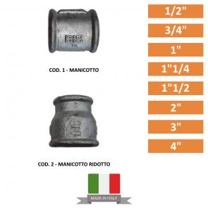 """MANICOTTO E MANICOTTO RIDOTTO DA 1/2"""" A 4"""""""