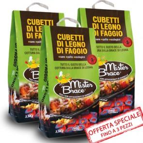 Cubetti di faggio per barbecue Mister Brace 3,5 kg carbonella ecologica