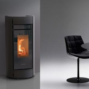 Stufa a Legna Canalizzabile Thermorossi Moma Wood HP 9,8kW Nero Opaco