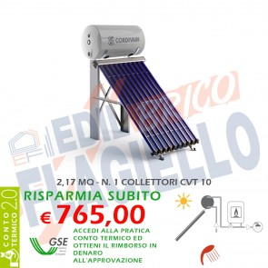 Pannello solare CORDIVARI Natural EVO CVT 150 1X10 CIRCOLAZIONE NATURALE SANITARIA PIANO