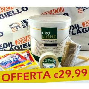 Kit Pittura Fai Da TE con Carta Gommata Pennellessa e 13 litri pittura lavabile da interno