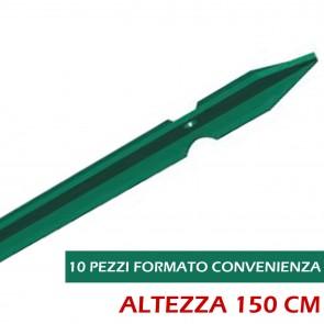 Paletto per Recinzione Verde T altezza 150 Palo Plastificato