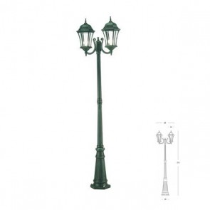Palo due luci Art. 977/32 Nero/Verde h.215