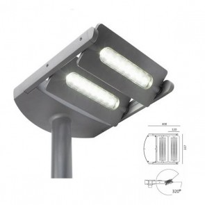 Testa Palo due luci a led Art. 99606/72 Alluminio