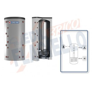 Cordivari Termoaccumulatore Puffer 1 CTS VB da 500 a 2000 per Acqua di Riscaldamento a Caricamento Termico Superiore con 1 Scambiatore Fisso in Acciaio al Carbonio a Coibentazione Rigida