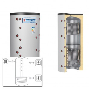 Cordivari Termoaccumulatore PUFFER 2 CTS VB 500 a 1000 RIGIDA MORBIDA solo riscaldamento 2 scambiatori fissi