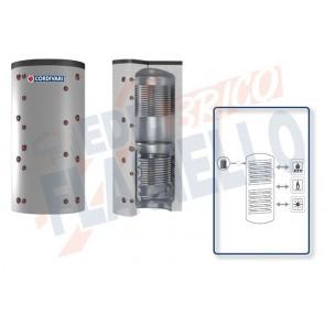 Cordivari Termoaccumulatore Puffer 2 VC da 750 a 2000 per Acqua di Riscaldamento con 2 Scambiatori Fissi in Acciaio al Carbonio a Coibentazione Morbida Smontabile