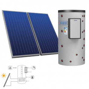 Pannello Solare Sistema Termico Circolazione Forzata Cordivari PUFFERMAS 2 CTS  500 4X2,5 Acqua Calda Sanitaria E Riscaldamento
