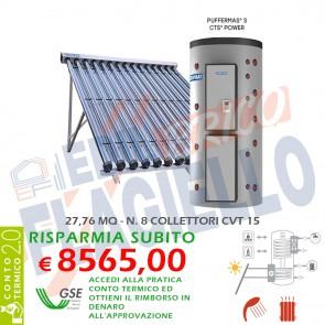 Pannello Solare Cordivari PUFFERMAS 3 CTS POWER CVT 1500 8X15 Collettori Sottovuoto Circolazione Forzata