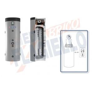 Cordivari Bollitore Puffermas 1 Domus da 200 a 300 per Pompe di Calore con modulo integrato con Scambiatore a Piastre in Acciaio Inox 316L per produzione di Acqua Calda Sanitaria a Coibentazione Rigida