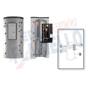 Cordivari Termoaccumulatore Puffermas 1 VB da 500 a 1500 per accumulo di Acqua di Riscaldamento e produzione di Acqua Calda Sanitaria con modulo MACS 70kW-120kW esterno con Scambiatore a Piastre in Acciaio Inox 316L a Coibentazione Rigida