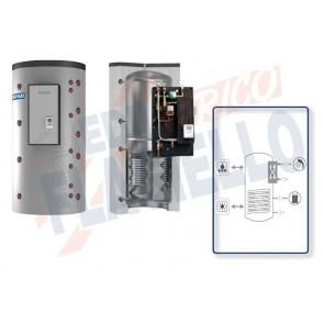 Cordivari Termoaccumulatore Puffermas 2 VB da 500 a 1500 per accumulo di Acqua di Riscaldamento e produzione di ACS con modulo MACS 70kW-120kW esterno con Scambiatore a Piastre in Acciaio Inox 316L e 1 Scambiatore Fisso a Coibentazione Rigida