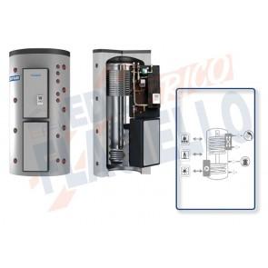 Cordivari Termoaccumulatore Puffermas 3 CTS Power VB da 500 a 1500 per accumulo di Acqua di Riscaldamento e produzione di ACS con modulo MACS 70kW esterno con Scambiatore a Piastre, Stazione Solare Integrata e 2 Scambiatori Fissi a Coibentazione Rigida