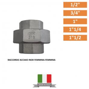 "RACCORDO ACCIAIO INOX DA 1/2"" A 1""1/2"