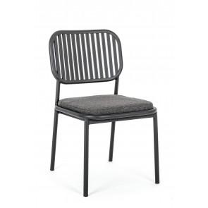 Sedia da Esterno in Alluminio Bizzotto C-C Rodrigo Antracite WG21 Senza Braccioli con Cuscino