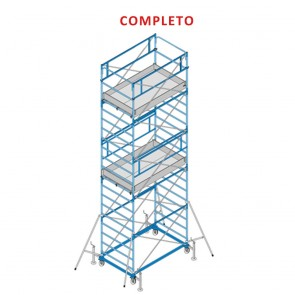 Trabattello FRIGERIO EXPORT 05 Ponteggio Professionale Zincato Base 200x120 Altezza 645cm Completo