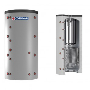 Termoaccumulatore CORDIVARI COMBI 2 INOX Per A.C.S. In Acciaio Inox 316lt Coibentazione Rigida Modello Da 800 a 1000
