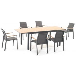 Tavolo in Alluminio Allungabile Beverly Antracite 164-225x90cm M0947-38