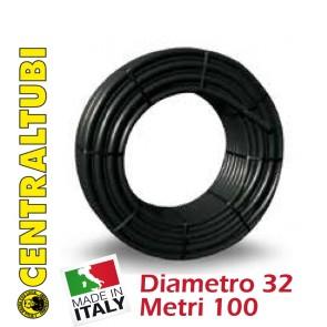 Tubo Nero Polietilene per Irrigazione PN 10 HD 032 100 Metri