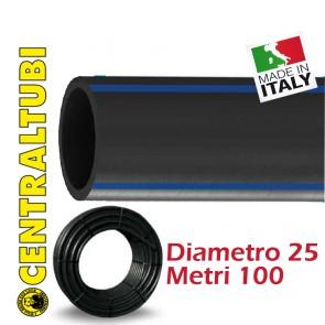 Tubo Nero Polietilene Acqua Potabile CENTRALTUBI PE100 D 25 PN16 metri 100 rotoli