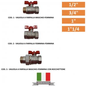"""Valvola a Farfalla da 1/2""""-3/4""""-1""""-1""""1/4 1/2""""-3/4""""-1""""-1""""1/4"""